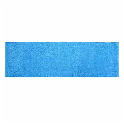 r Chenille Teppich Vorleger 66 x 200 cm aus 100% Reiner Baumwolle, Farbe: blau, pflegeleicht und strapazierfähig ()