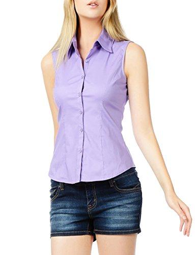 LE3NO Womens Lightweight Cotton Sleeveless Button Down Shirt