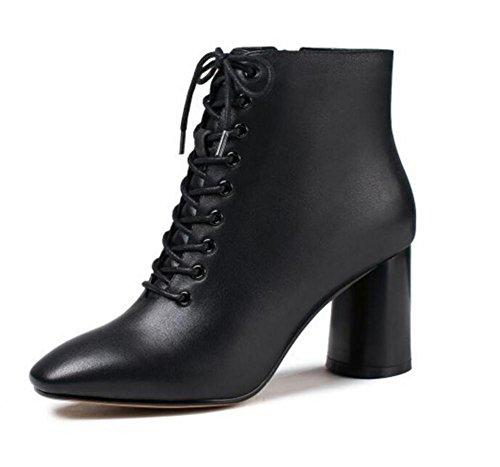 Frauen Schuhe Winter Leder Faux Pelz gesäumt Karree Lace Up Martin Stiefeletten Blockabsatz Party Abend Büro Tanz schwarz grün Size35To42 , black , 39 Senf Pumpen