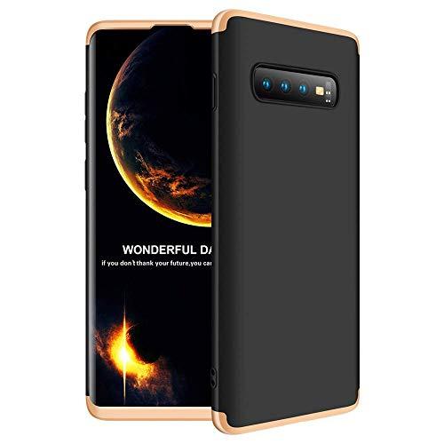 Hülle für Galaxy s10 Plus 3 in 1 Handy Hülle Ultra Dünn Hartschale 360 Grad Full Body Schutz Stoßdämpfend Anti-Abdruck Glatte Griff Hybrid Etui Bumper Case Cover (Schwarz und Gold, Galaxy s10) - Verwendet-chrom-felgen