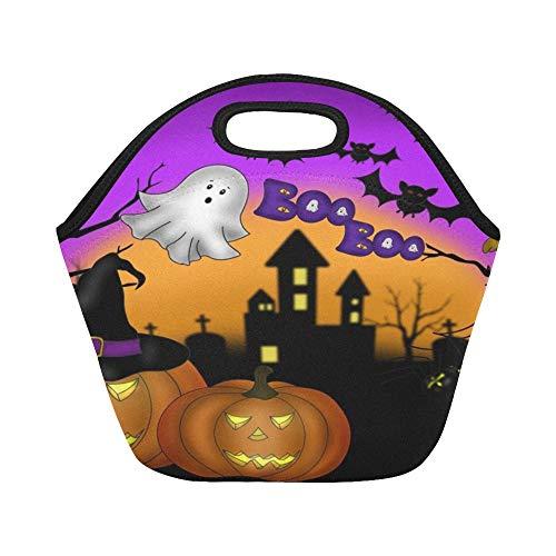 Isolierte Neopren-Lunch-Tasche Halloween Scary Night Pumpkin Große wiederverwendbare thermische dicke Lunch-Tragetaschen Für Lunch-Boxen Für draußen, Arbeit, Büro, Schule