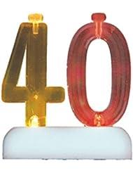 Cambia Color número que parpadea 40 Titular de la vela del cumpleaños con 4 velas