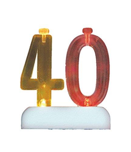 Unique Party Portavelas de cumpleaños Intermitente número 40 con 4 Velas (37544)