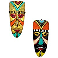 New Life Home Decorative Terracotta Wall Hanging Egyptian Mask Combo (20 cms, Multicolour)