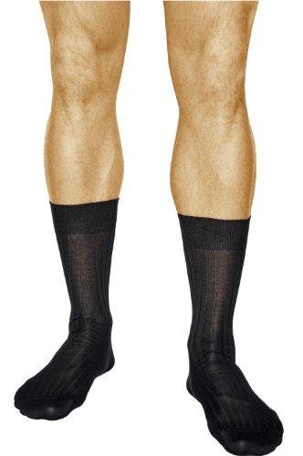 vitsocks 3 Paar gerippte Herren Business Socken, 100% ITALIENISCHE MERCERISIERTE BAUMWOLLE, Atmungsaktiv, Klassisch, 44-46, schwarz