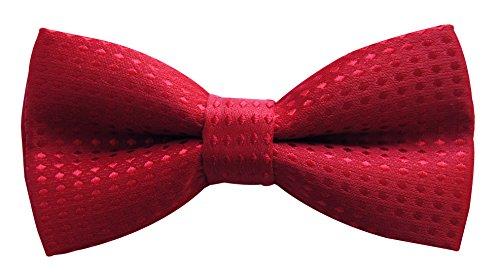axy Kinderfliege, Jungen Fliege, bereits gebunden, Konfirmation verstellbar KFLI1 (Rot mit roten Punkten) (Rote Hosenträger Baby)