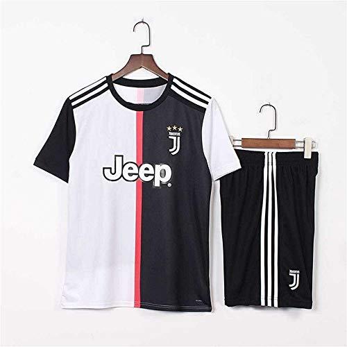 Fußball Spieler Frauen Kostüm - Spanischer Offizieller - Real Madrid - Juventus 7 C Ronaldo - Fußballbekleidung T-Shirts Männer Und Frauen Baby Erwachsener Erwachsener Fußball Sweatshirt + Shorts Set (Schwarz + Weiß)