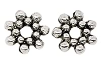 Souarts Antique Silver Color Flower Shape Spacer Beads Pack of 300pcs