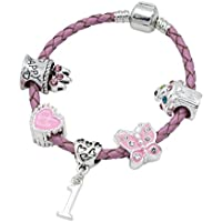 Children's Pink Leather Happy 1st Birthday Charm Bracelet With Lovely Jewellery Hut Gift Pouch - Girl's & Children's Birthday Gift Jewellery