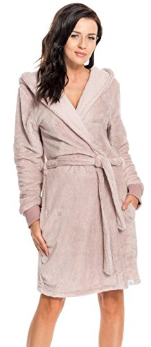 dn nightwear Damen Bademantel / Morgenmantel SSK.9158 mit Kapuze Pudding