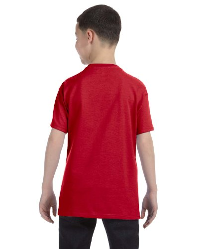 Hanes Authentic Tagless Kids Cotton T-Shirt Deep Red