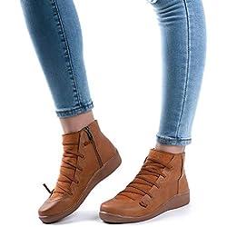 Botines Planos Mujer Zapatos Comodos PU Cuero Botas Cuña Cremallera Trekking Senderismo Vintage Casual Azul Marrón Verde Gris Rojo EU 35-43 Marrón EU42