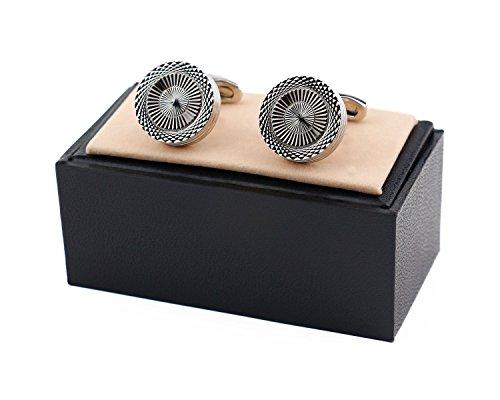 1 Pair - Silver Metal, Black Stone Mens Essentials in Box VALDERO/® Mens Cufflinks