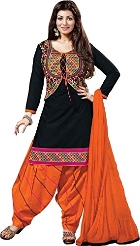 Women's Clothing Designer Party Wear buy online Black Color Crepe Fabric Free Size Salwar Kameez Dress Material Today Best Offers Sale by Rensila Fab