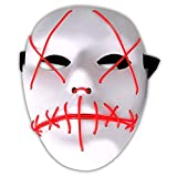 Amasawa LED Halloween Masque EL Wire Masque Cosplay Lumiere Effrayant avec 4 Modes pour De noël Décoration Fête Festival (Rouge)