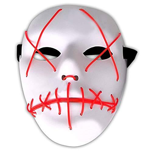 Amasawa LED Máscaras Adultos Cosplay Sin Batería con 4 Modos para Halloween la Fiesta de Disfraces la Navidad (Rojo)
