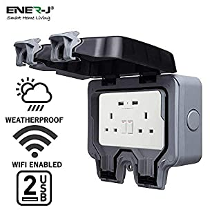 EnerJ Smart Waterproof 13A WiFi Twin Wall Socket with 2 USB Ports, IP66 Rated 2 Gang 13 Amp Double Pole Electrical Switch Sockets Box for Garden Outdoor Electric Power Outlet