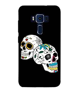 PrintVisa Designer Back Case Cover for Asus Zenfone 3 Deluxe ZS570KL (5.7 Inches) (Skulls In White And Floral Design)