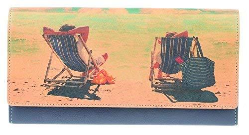 Golunski große Geldbörse mit Liegestuhl- und Strand-Motiv, aus Leder, für Reisepass und Geld