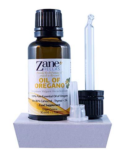 ZANE HELLAS puro selvatico olio essenziale greco di origano con 86 per cento di Minimo Carvacrol, 100% olio di origano. 1 fl. Oz. 30 ml. Carvacrol per porzione 129 mg. Super 100.