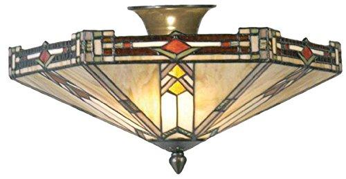 Lumilamp 5LL-5420 Deckenlampe Deckenleuchte im Art Deco Tiffany Stil Mehrfarbig Ø 40 * 23 cm 2X E14 max 40w dekoratives buntglas Tiffany Stil handgefertigt glasschirm -