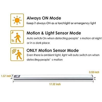 Schranklicht Unterbauleuchte Schrankbeleuchtung 66 LED Lichtleiste LOFTer PIR-Bewegungs- oder Lichtsensor große Batteriekapatizät und mit USB Kabel geladen Kabellos Für Schrank Küche Treppe Carage