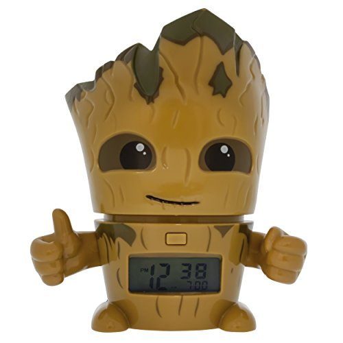 BulbBotz Marvel 2021340 Guardians of The Galaxy Vol.2 Groot Kids Night Light Alarm Clock with Characterised Sound, Brown/Green, Plastic, 5.5 inches Tall, LCD Display, Boy Girl, Official (Schlaf Sounds Clock Alarm)