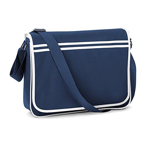 BagBase Retro Tasche im Retro-Stil Schultergurt Messenger 40x30x10cm 12L Freizeit French Navy/ White