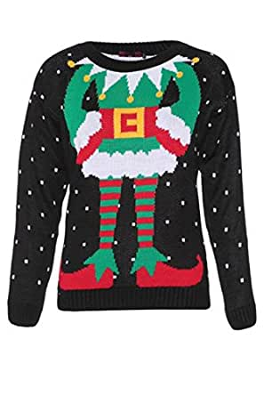 Fast Fashion Damen Pullovern Promi Inspiriert Elfe Drucken Gestrickten Weihnachts