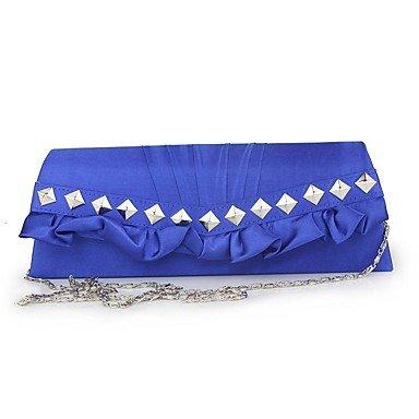 Frauen Damen Seide simple mode Abendessen Tasche Blue