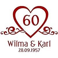 Autoaufkleber Hochzeit Diamantene Hochzeit & Namen