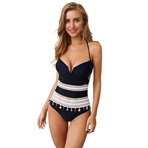CixNy Mode Tankini Retro Bikini Set Sportliche Gepolstertes Festes Mesh Stern Drucken Swimwear Monokini Quaste Pompom Badeanzug Damen Bademode EIN Stück Beachwear Gelb Rot Schwarz Pink Weiß S-XL