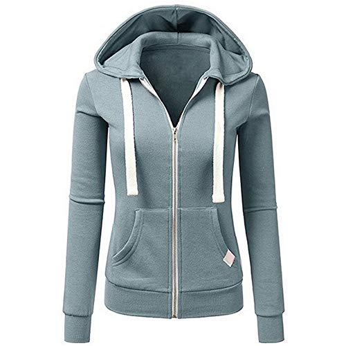 UJUNAOR Damenmode Langarm Volltonfarbe Hoodie Zip Jacke Herbst Outwear Mantel(Blau,CN L)