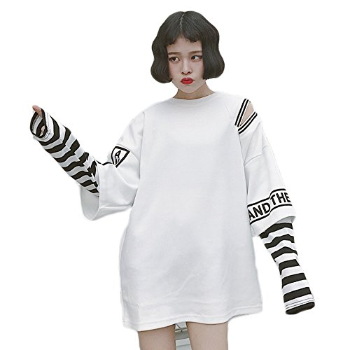 Himifashion Harajuku Women Stripe Two False Pieces Long Sleeves T-Shirt Kawaii Clothes (White)
