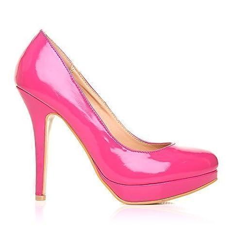 EVE Fuchsia Patent PU Leather Stiletto High Heel Platform Court Shoes Size UK 7 EU 40