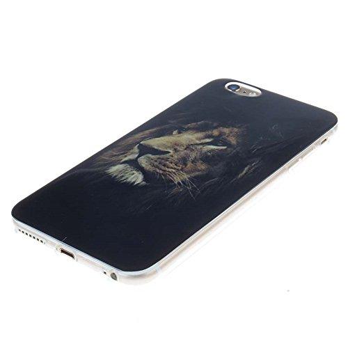"Hülle für Apple iPhone 6 Plus 6S Plus 5.5"" Handyhülle Dünn Stil Licht Flexibel TPU Gel Case Bumper Malerei Muster Schwarz Löwe Farbe-1"