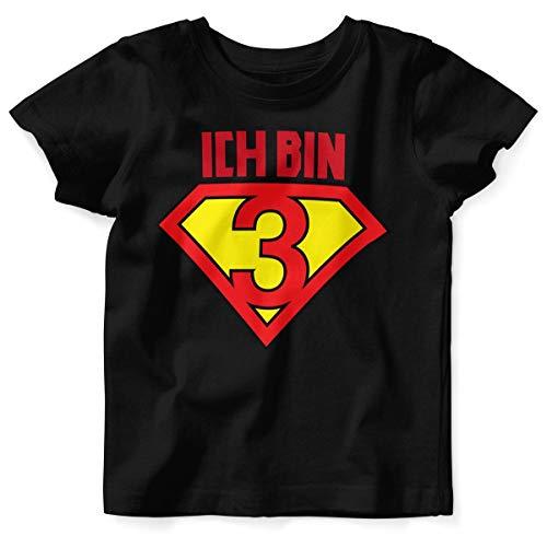Mikalino Baby/Kinder T-Shirt mit Spruch für Jungen Mädchen Unisex Kurzarm Ich Bin 3 | handbedruckt in Deutschland | Handmade with Love, Grösse:104, Farbe:Heather