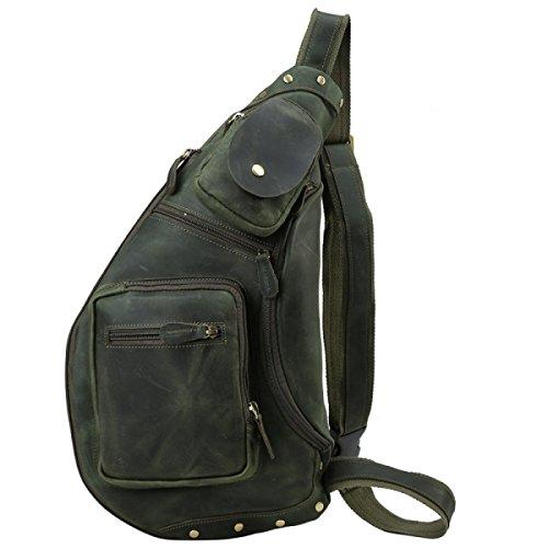 FZHLY Leder Brust-Tasche Retro Kuhfell Große Kapazitäts-Men Messenger Bag,Brown Green