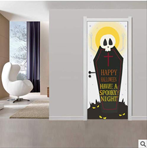 Tür Aufkleber Horror Grabstein Halloween Kreative 3D Wandaufkleber Tapete Aufkleber Dekoration 77X200 Cm (Machen Grabsteine Halloween-dekoration)