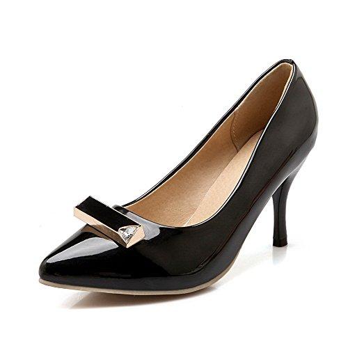 Damen Rein Lackleder Hoher Absatz Ziehen auf Spitz Zehe Pumps Schuhe, Schwarz, 33 AllhqFashion