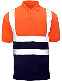 9072ab3c Hi Viz Vis High Visibility Polo Shirt Reflective Tape Safety Security Work  Button T-Shirt Breathable Lightweight…