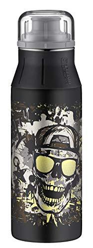 alfi 5357.117.060 Trinkflasche elementBottle, Edelstahl Glowing skull 0,6 l, Spülmaschinenfest, leuchtet im Dunklen, BPA-Free