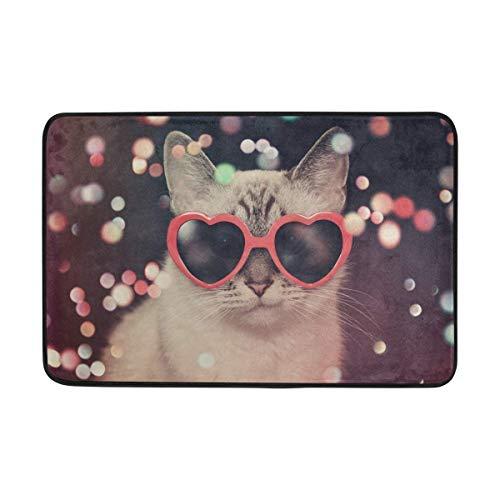 Bgejkos Haustür-Matte Hipster Nette Katze mit roter Herz-Sonnenbrille Durable Indoor Outdoor-Eingangsmatte