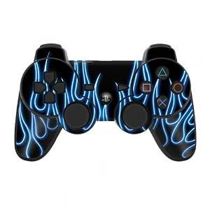 Skins4u Playstation 3 Controller Skin – Design Sticker Set für PS3 Gamepad – Blue Neon Flames