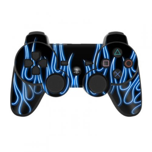 Skins4u Playstation 3 Controller Skin - Design Sticker Set für PS3 Gamepad - Blue Neon Flames (Sticker Skin Ps3 Controller)