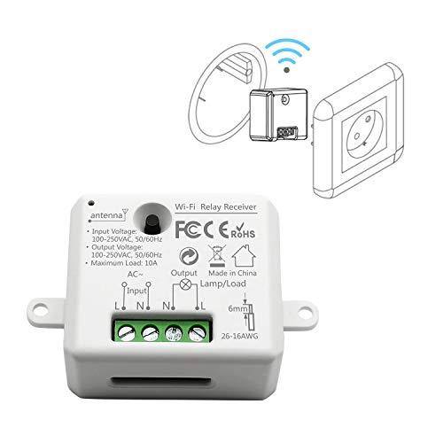 LoraTap Wifi Schalter Relais Modul Smart Home Switch mit Timer Fernbedienung über Handy für Hausautomation DIY Auf-/Unterputz Kompatibel mit Alexa, Echo Dot und Google Home
