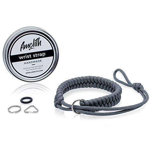 Amolith® Kamera-Handschlaufe aus Paracord | Farbe: Gunmetal | Flechtmuster: Fishtail | Handgelenkschlaufe Kameraschlaufe Kameraband Trageschlaufe | AML-8391
