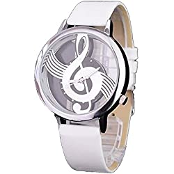 ufengke® fashion artistic big transparent dial strap music note wrist watch for girls children