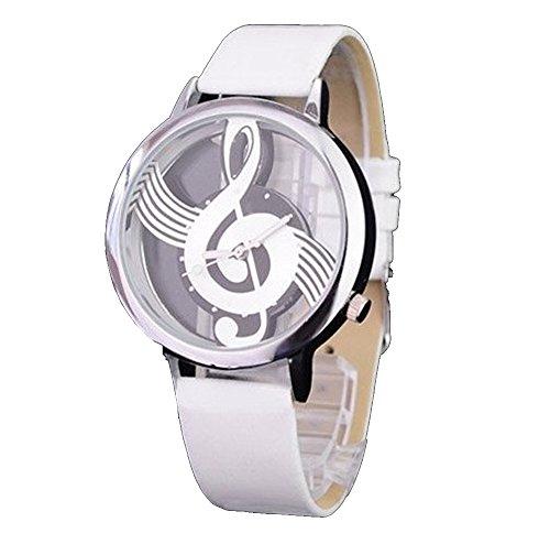 ufengke® moda artistico grande Quadrante nota musicale bracciale orologio da polso trasparente per le ragazze i bambini