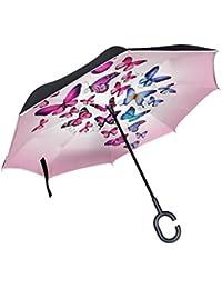 COOSUN Capa de color rosa mariposas doble del paraguas invertido inversa para el coche y el